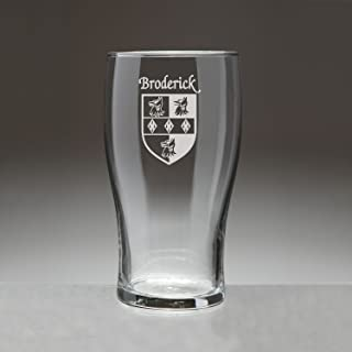 Broderick Irish Coat of Arms Tavern Glasses - Set of 4 (Sand Etched)