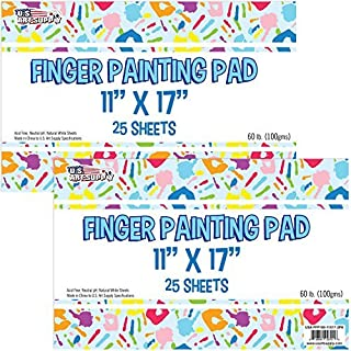 """U.S. Art Supply Large 11"""" x 17"""" Finger Painting Paper Pad - 25 Sheets 60lb (100gsm) Acid Free (Pack of 2 Pads)"""