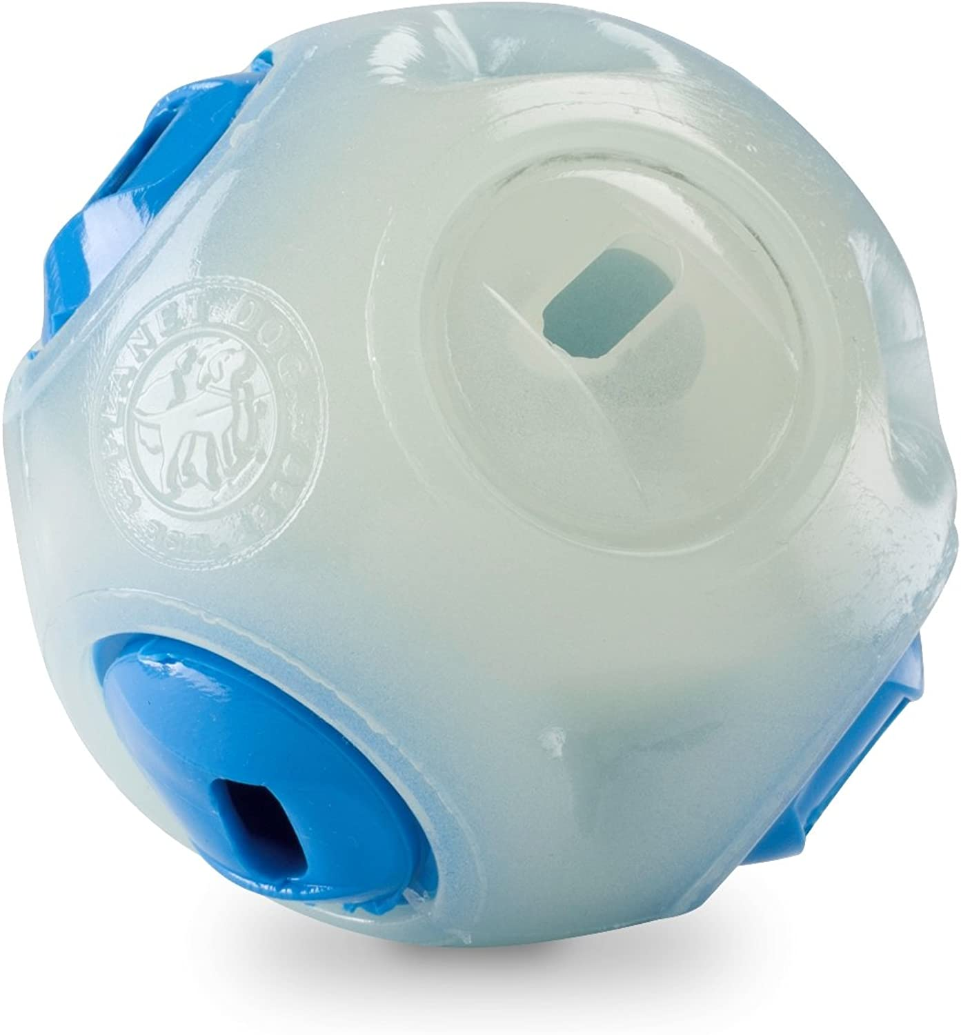 Planet Dog Orbee Tuff Whistle Interactive Fetch Guaranteed Durable Dog Ball, Made in The USA, Glows in The Dark, 2.5Inch, Glow and bluee