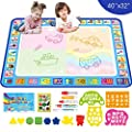 Aqua Magic Doodle Drawing Mat - 40x32 Inches Large Water Coloring Writing Painting Mat for Kids Baby Toddler - Mess Free Educational Toys Present Xmas Gift for Boy Girl Age 2 3 4 5 6 7 8 Year Old