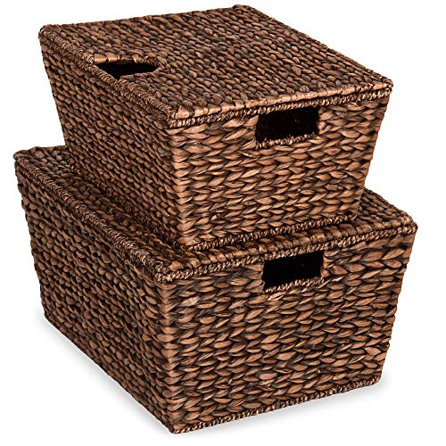 Best Choice Products Set of 2 XL Multipurpose Classic Water Hyacinth Chests Oversized Woven Tapered Storage Basket for Organization, Laundry, Decoration w/Attached Lid, Handle Holes