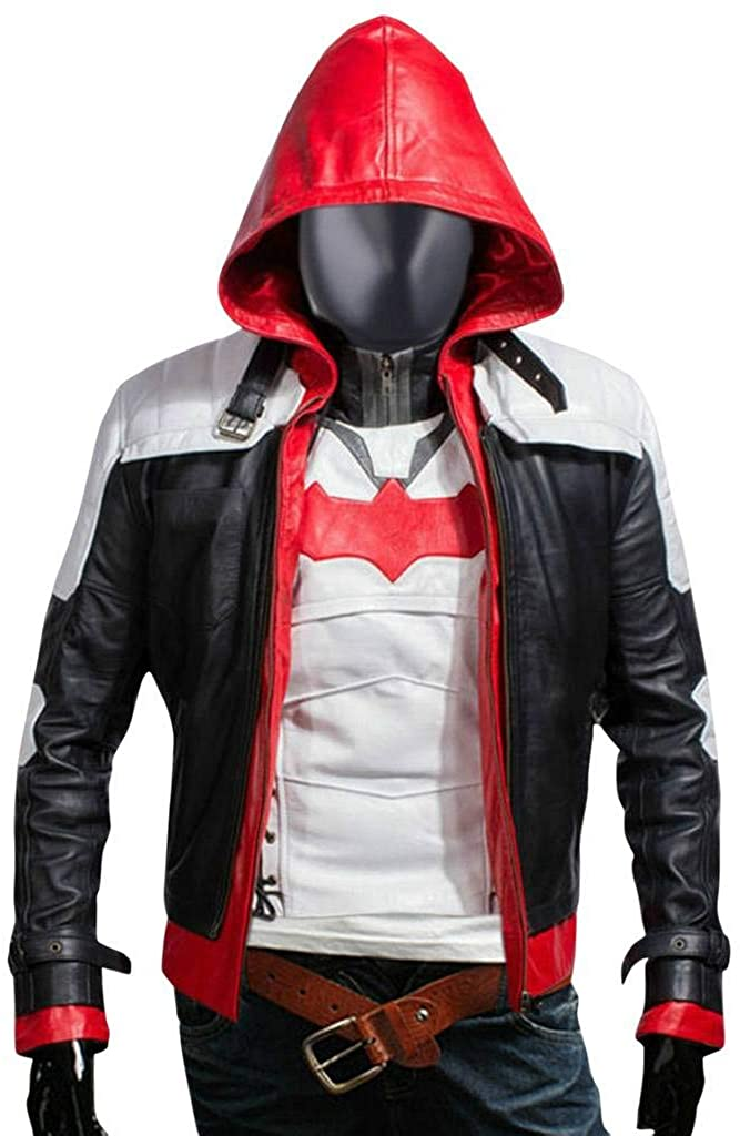 Flesh & Hide F&H Men's Superhero Knight Genuine Leather Hooded Jacket & Vest