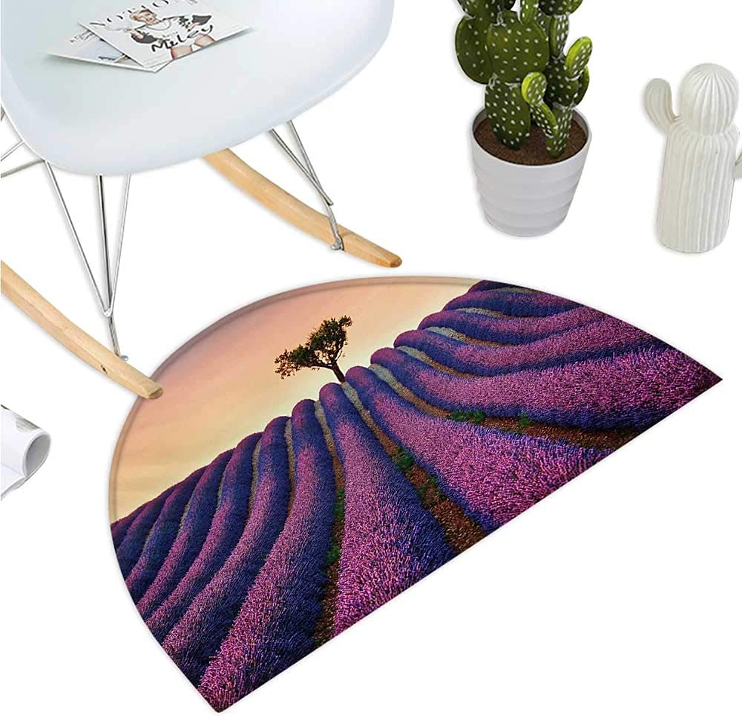 Tree Half Round Door mats Lavender Flowers Blooming Field and A Tree Uphill on Sunset Valensole France Print Bathroom Mat H 35.4  xD 53.1  Purple Peach
