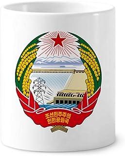 North Korea National Emblem - Soporte para cepillo para polvo de dientes (cerámica, 355 ml), color blanco