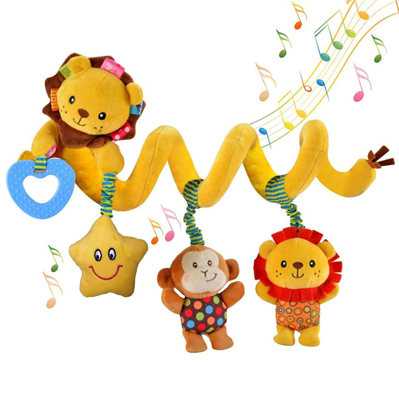 Hanging Car Seat Toys, willway Infant Baby Spiral Plush Toys for Crib Bed Stroller Bar Car Seat Mobile - with Musical Star Rattle Monkey BB Lion