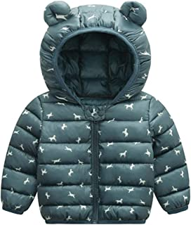 LONGDAY Baby Girl Boy Kids Light Down Jacket Windproof Zipper Cable Hooded Coat Winter Warm Toddler, 2019 Snowsuit