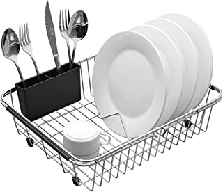 Expandable Dish Drying Rack, 304 Stainless Steel Over Sink Dish Rack, Dish Drainer in Sink or On Counter with Utensil Drying Rack- Rustproof, Large