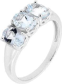 Sterling Silver Genuine Natural Aquamarine Three Stone Ring (2 1/4 CT.T.W)