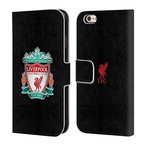 Head Case Designs Offizielle Liverpool Football Club Schwarz 1 Crest 1 Leder Brieftaschen Handyhülle Hülle Huelle kompatibel mit Apple iPhone 6 / iPhone 6s