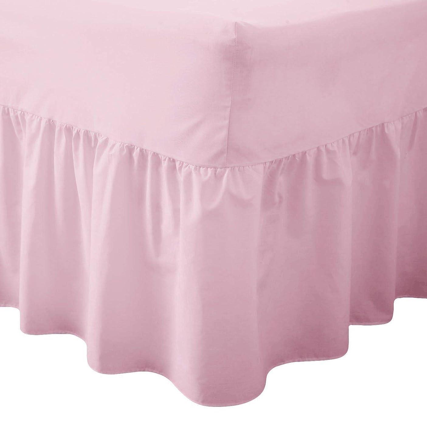 畝間自動腹TENCMGベッドスカート - ベッド表面なし低刺激性取り外し可能ベッドスカート - エラスティックバンドベッドスカート40cmドロップ - 低刺激性簡単にしわ,Pink,100x200cm
