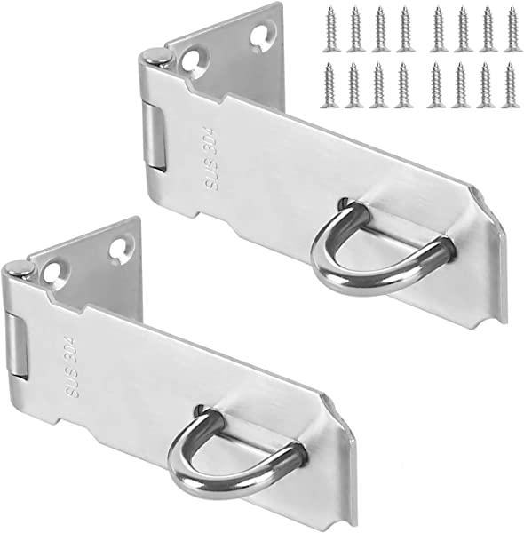 Padlock Hasp KINJOEK 2 PCS Stainless Steel Security Door Clasp Hasp Lock Latch 2mm Extra Thick Door Gate Bolt Lock With 16 Mounting Screws 3 Inch