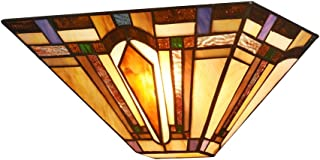 DOCHEER Tiffany-Style Mission 1-Light Wall Sconce with 12.2-Inch Width Stained Glass Shade Wall Lamp, Multi-Colored