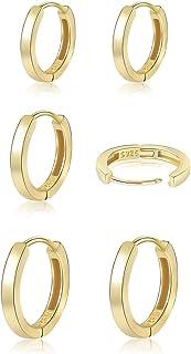 گوشواره های حلقه ای نقره ای کوچک 925 زنانه دخترانه گوشواره 14K طلایی هاگی مردانه گوشواره های غضروفی کوچک ضد حساسیت حلقه 5mm 6mm 7mm 8mm 9mm 10mm 12mm
