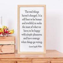 De echte dingen Laura Ingalls   De echte dingen zijn niet veranderd   Laura Ingalls Wilder Quote  ingelijste houten borden...