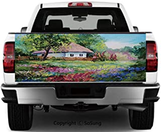 Rustic Vinyl Wall Stickers,Artistic Stone House and Small Garden with Wooden Fence Colorful Spring Flowers Cars Trucks Decorative Decal Sticker,55x15 Inches,Multicolor