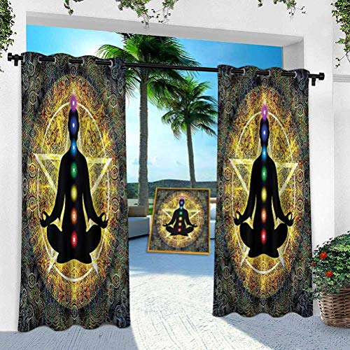 Aishare Store - Cortina para patio al aire libre, chakra, cuerpo meditador, pentagrama, 95 pulgadas de largo, resistente panel interior para porche, balcón, pérgola, toldo para carpa (1 panel)