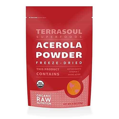 Terrasoul Superfoods Organic Acerola Cherry Powder (Freeze-dried), 4-ounces