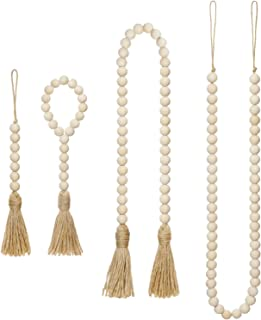 Mkono Wood Beads Garland with Tassels 4 Styles Prayer Beads Farmhouse Rustic Natural Wooden Bead String Wall Hanging for Baby Nursery Room Decor,Wedding Vase Ornament, Ivory