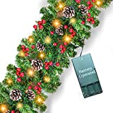 Prelit Christmas Garland Decoration - [9 Foot by 10 Inch] Battery Operated Lighted Christmas Garland with 50 Lights/ Pine Cones/ Red Berries, Xmas Wreath Indoor Outdoor Home Mantel Decor (Warm White)