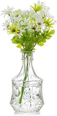 Sziqiqi Vintage Embossed Glass Bud Vase Bottle Vase for Home Decor Wedding Flower Vase Centerpiece Sunflower Embossed Design Round Bottom 7.5 inch