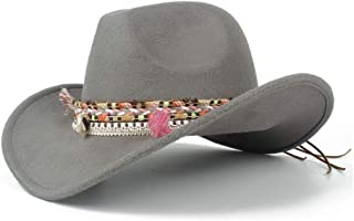 Sunhat Sun Hat Roll Up Women's Men's Winter Wide-Brimmed Cowboy Western Fashion Cowgirl Bowler Fedora Hat Colorful Fringe Belt Jazz Cap (Color : Gray, Size : 56-59cm)