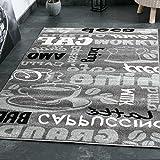 Trendiger Kaffee Teppich, verschiedene Schriftarten und Muster, Meliert in Grau, Weiß und Schwarz ideal für die Lounge oder Küche – ÖKO TEX Zertifiziert, Maße:120 cm x 170 cm - 6