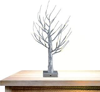 OBELON Árbol ramita con luz,brillo de plata,preiluminado, 32 luces LED, 1.8 pies de alto,funciona con pilas,para Navidad, pascua, halloween, fiesta, vacaciones, hogar decorativo -Plata metal