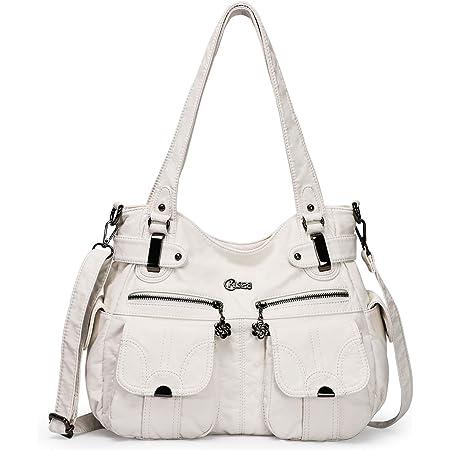 KL928 Tasche Damen Handtasche Umhängetaschen Damenhandtasche Schultertasche Lederhandtasche elegante Taschen hand taschen Henkeltaschen für frauen mit vielen fächern (Weiß)