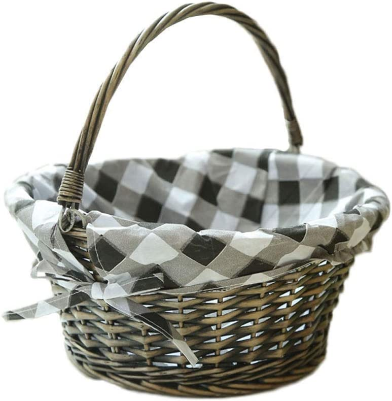 Free shipping on posting reviews DJSMycl Willow Fashion Wicker Lined Handle Basket Handmade Hamper Picnic