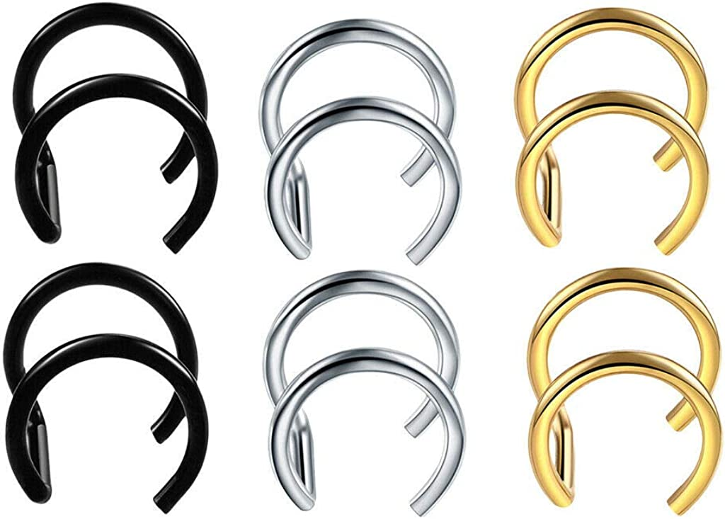 UkrGoods 6X Clip 316L Stainless Steel Ear Coils Ear Cuff Wrap Earrings Non-Pierced Unique Beautiful Style Good Jewelry Creation Polar Casual Cute Nice Design Party