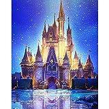 5D Diamante Pintura DIY Diamond painting kit Castillo de ensueño bajo las estrellas Bordado de diamantes de para decoración del hogar, arte de Navidad 30x40cm (Sin marco)