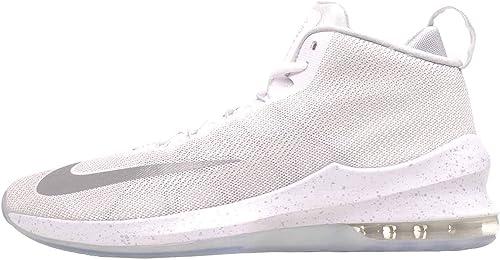 Nike Air Max Infuriate Mid Premium Men& 039;s Basketball schuhe Weiß Metallic Silber Größe 11.5