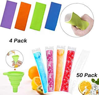 50 Pack Ice Popsicle Molds, Zip-Top Disposable DIY Summer Ice Pop Bags Pouch with 4 Ice Pop Sleeves & 1 Silicone Funnel for Yogurt, Ice Candy, Otter Pops, Gogurt, Freeze Pops, All Food Grade Material