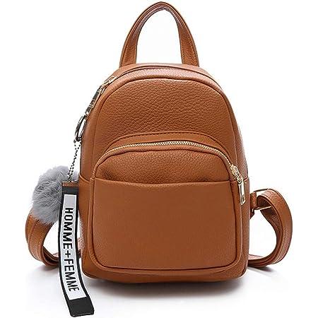 Katech Rucksack Damen Schultertasche Casual wasserdichte Schultasche Daypack Damen Kleinen Rucksack Mädchen Schultaschen Handtasche mit Pom Pom Ball (Braun)