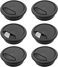 6 Pcs 2 Inch Plastic Desk Cord Cable Hole Cover Grommet Computer Cable Hole Cover Plug Cap Black