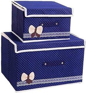 2pcs boîte de rangement Boîte de rangement Deux Taille de rangement pliable Paniers Bins avec Couvercles et poignées de co...