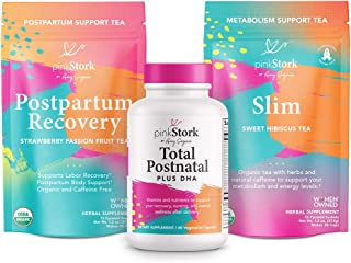 Pink Stork Recovery Bundle: Postpartum Prenatal Vitamins, Supports Labor & Delivery + Green Tea to Support Energy & Metabolism + Zinc, Women-Owned