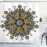 ABAKUHAUS Mandala Duschvorhang, Stammes-Paisley Boho Kunst, mit 12 Ringe Set Wasserdicht Stielvoll Modern Farbfest & Schimmel Resistent, 175x220 cm, Mehrfarbig