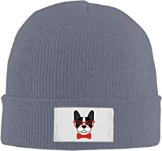 HUEH HUFW Comfortable Beanie Hat for Men and Women Boston Terrier with Glasses Winter Warm Hats