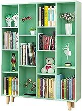 LHQ-HQ Kids Book Shelf Home MDF 14-Grid Boekenkast Bestand Organisator Vloer staande boekenplank Groene rek