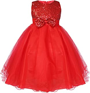 FEESHOW Girls' Sequined Flower Girl Dress Party Pageant Wedding Bridesmaid Graduation