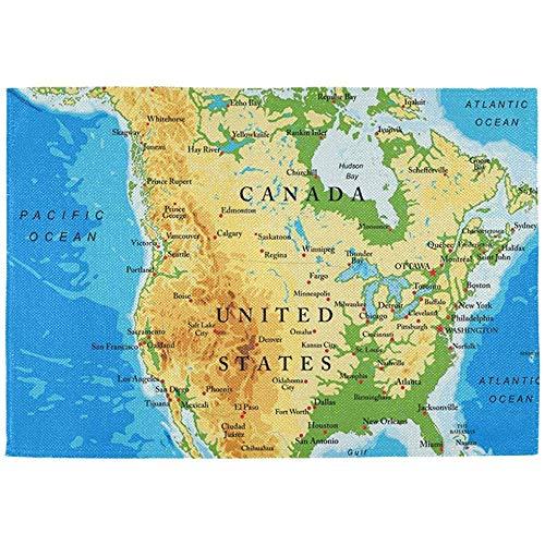 Physische Karte von Nordamerika Tischsets Set von 6 - Polyester Dinner Table Mat
