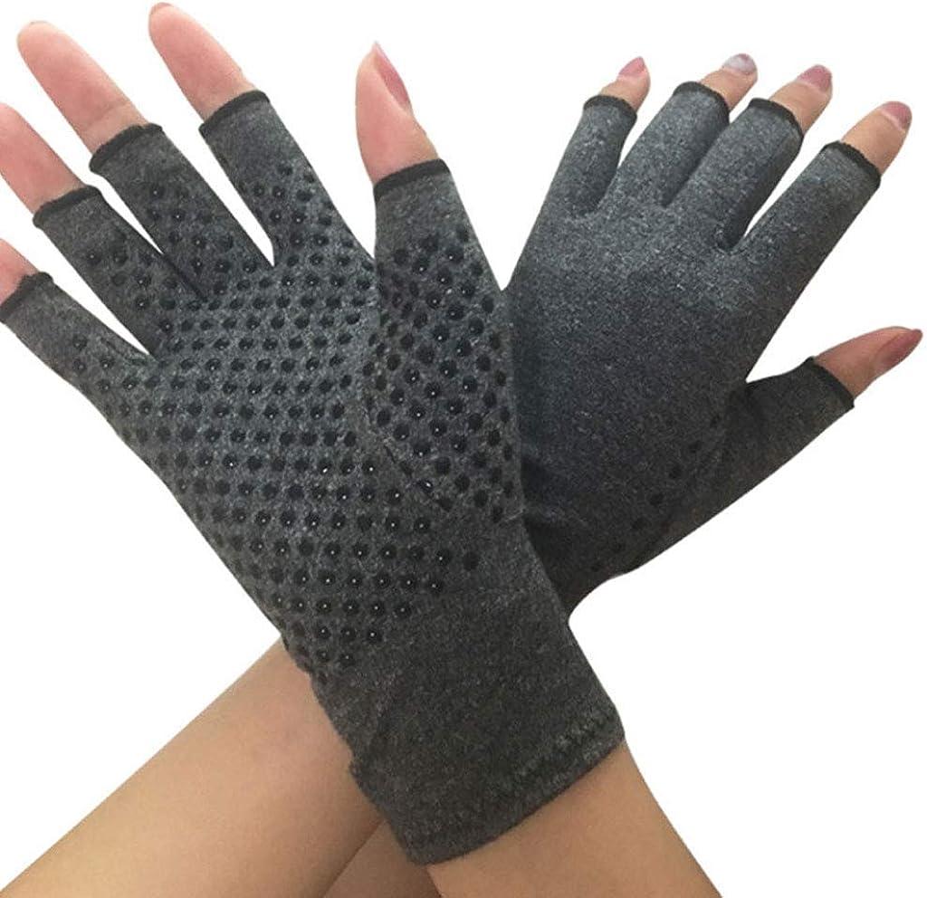 Dsxnklnd Unisex Compression Arthritis Hand Gloves Textured Open Finger Joint Pain Relief Fingerless Wrist Length Mittens