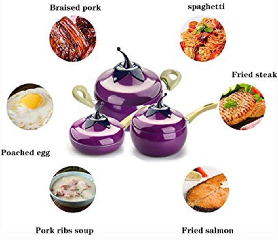 Casserole à fruits marmite couleur gril poêle à induction cuisinière à gaz en alliage d'aluminium accessoires Cookwaretolls, pot de soupe violet Pot de Soupe Violet