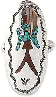 Navajo Silver Turquoise Coral Peyote Bird Chip Inlay Ring Size 7.5