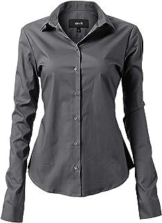 ee8038a7fae81 INFLATION Damen Hemd mit Knöpfen Baumwolle Bluse Langarmshirt Figurbetonte  Hemdbluse Business Oberteil Arbeithemden 11 Farben