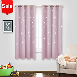NICETOWN Star Window Curtains for Girls - Magical Star Cut Room Darkening Drapes and Draperies for Baby Nursery/Girls Dorm/Bedroom (Lavender Pink=Baby Pink, Set of 2 Panels, 52W x 63L inches)