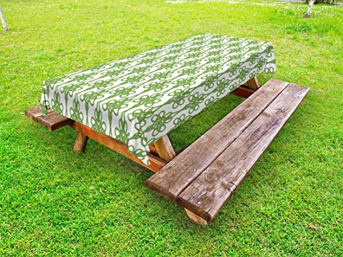 Lunarable Celtic Outdoor Tablecloth, St. Patrick's Day Theme Celtic Knots Lucky Clover Design Pattern Irish Theme Print, Decorative Washable Picnic Table Cloth, 58' X 84', White Lime