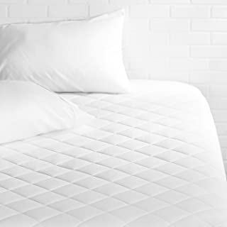AmazonBasics Hypoallergenic Quilted Mattress Topper Pad Cover – 18 Inch Deep, Queen