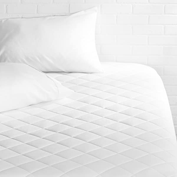 AmazonBasics Hypoallergenic Quilted Mattress Topper Pad Cover 18 Inch Deep Full